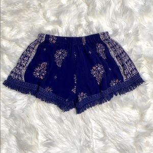 Band of Gypsies Boho Fringe Blue Pattern Shorts